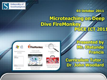 Aims 1 Introduction 2 FireMonkey in Details 3 Demo 4 Summary 5 Overview.