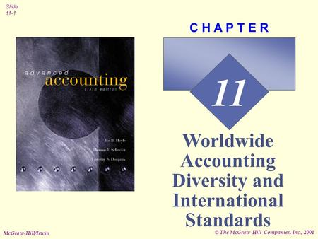 © The McGraw-Hill Companies, Inc., 2001 Slide 11-1 McGraw-Hill/Irwin 11 C H A P T E R Worldwide Accounting Diversity and International Standards.