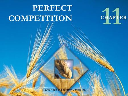 11-1 © 2003 Pearson Education Canada Inc. PERFECT COMPETITION 11 CHAPTER © 2003 Pearson Education Canada Inc. 11-1.