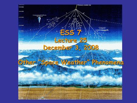"ESS 7 Lecture 25 December 3, 2008 Other ""Space Weather"" Phenomena."