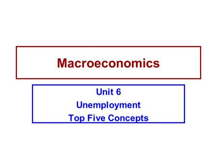 Unit 6 Unemployment Top Five Concepts