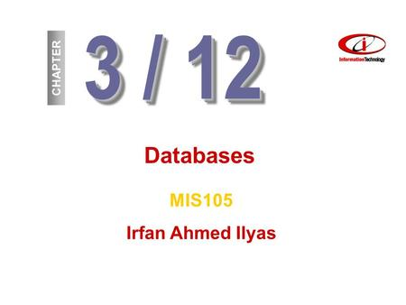 3 / 12 CHAPTER Databases MIS105 Irfan Ahmed Ilyas.