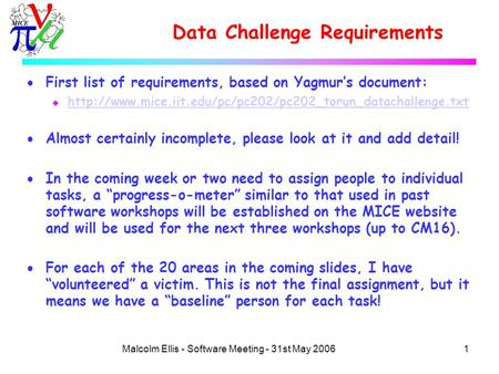 1Malcolm Ellis - Software Meeting - 31st May 2006 Data Challenge Requirements  First list of requirements, based on Yagmur's document: u