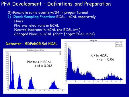 PFA Development – Definitions and Preparation 0) Generate some events w/G4 in proper format 1)Check Sampling Fractions ECAL, HCAL separately How? Photons,