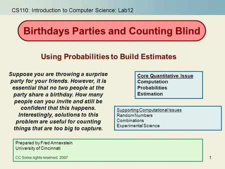 Birthdays Parties and Counting Blind