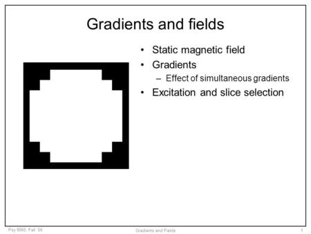 Psy 8960, Fall '06 Gradients and Fields1 Gradients and fields Static magnetic field Gradients –Effect of simultaneous gradients Excitation and slice selection.