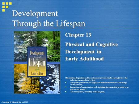Copyright © Allyn & Bacon 2007 Development Through the Lifespan Chapter 13 Physical and Cognitive Development in Early Adulthood This multimedia product.