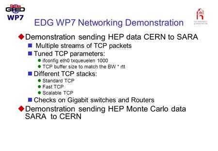EDG WP7 Networking Demonstration uDemonstration sending HEP data CERN to SARA Multiple streams of TCP packets Tuned TCP parameters: ifconfig eth0 txqueuelen.