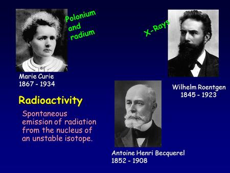 Radioactivity Spontaneous emission of radiation from the nucleus of an unstable isotope. Marie Curie 1867 - 1934 Wilhelm Roentgen 1845 - 1923 X-Rays Polonium.