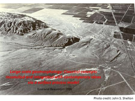 Large-scale geomorphology: Classical concepts reconciled and integrated with contemporary ideas via a surface process model Kooi and Beaumont 1996 Photo.