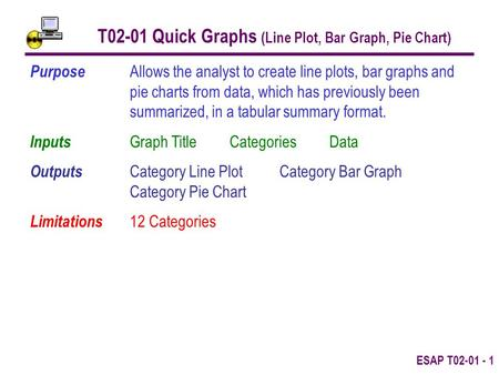 ESAP T02-01 - 1 T02-01 Quick Graphs (Line Plot, Bar Graph, Pie Chart) Purpose Allows the analyst to create line plots, bar graphs and pie charts from data,