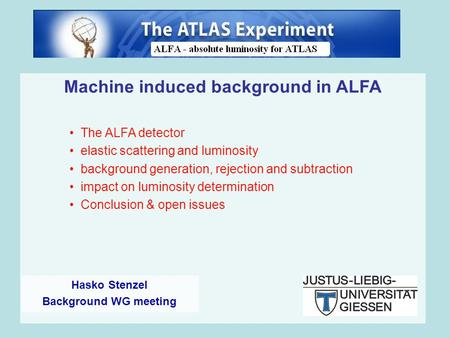 Machine induced background in ALFA The ALFA detector elastic scattering and luminosity background generation, rejection and subtraction impact on luminosity.