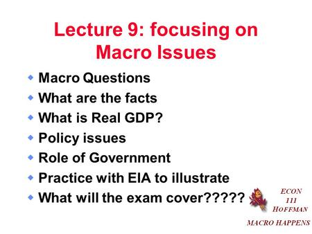 Lecture 9: focusing on Macro Issues