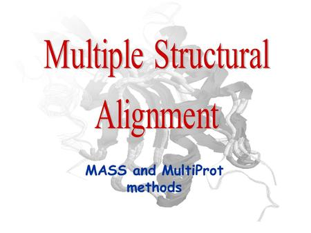 MASS and MultiProt methods. Problem Definition Input: a collection of 3D protein structures Goal: find substructures common to two or more proteins.