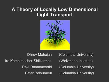 A Theory of Locally Low Dimensional Light Transport Dhruv Mahajan (Columbia University) Ira Kemelmacher-Shlizerman (Weizmann Institute) Ravi Ramamoorthi.