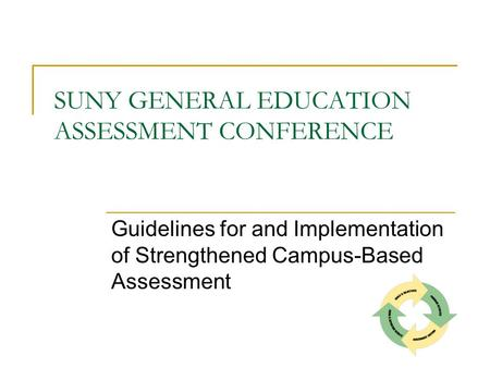 SUNY GENERAL EDUCATION ASSESSMENT CONFERENCE Guidelines for and Implementation of Strengthened Campus-Based Assessment.