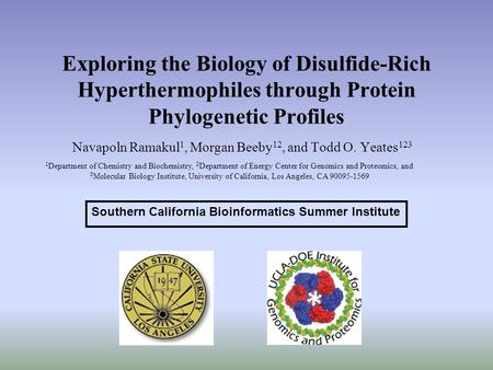 Exploring the Biology of Disulfide-Rich Hyperthermophiles through Protein Phylogenetic Profiles Navapoln Ramakul 1, Morgan Beeby 12, and Todd O. Yeates.