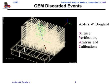 SVACInstrument Analysis Meeting, September 23, 2005 Anders W. Borgland 1 GEM Discarded Events Anders W. Borgland Science Verification, Analysis and Calibrations.