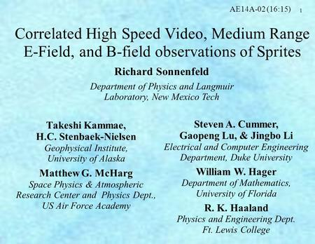 1 Correlated High Speed Video, Medium Range E-Field, and B-field observations of Sprites Takeshi Kammae, H.C. Stenbaek-Nielsen Geophysical Institute, University.