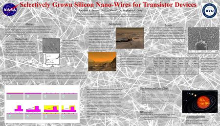 Selectively Grown Silicon Nano-Wires for Transistor Devices Abstract The goal of this project is to fabricate a transistor device using silicon nano-wires.