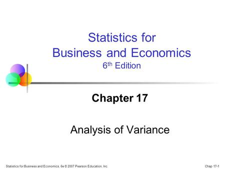 Chapter 17 Analysis of Variance