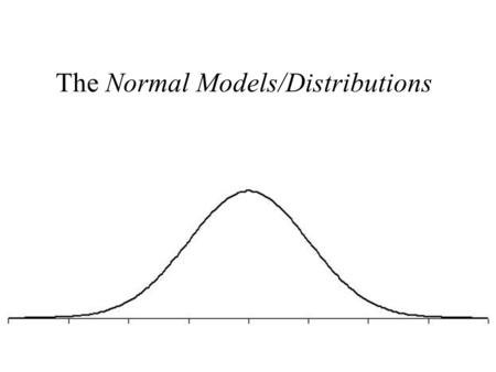 The Normal Models/Distributions. Normal Distribution Parameters The first parameter specified here is shape: symmetric, unimodal, bell shaped. (A formula.