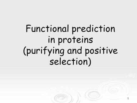 1 Functional prediction in proteins (purifying and positive selection)