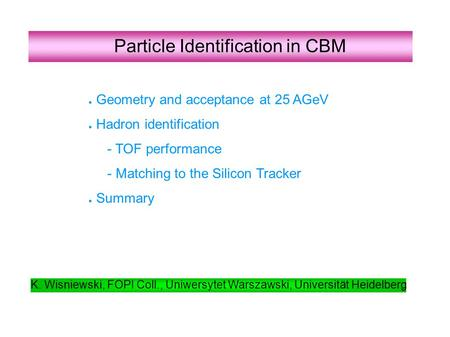Particle Identification in CBM ● Geometry and acceptance at 25 AGeV ● Hadron identification - TOF performance - Matching to the Silicon Tracker ● Summary.
