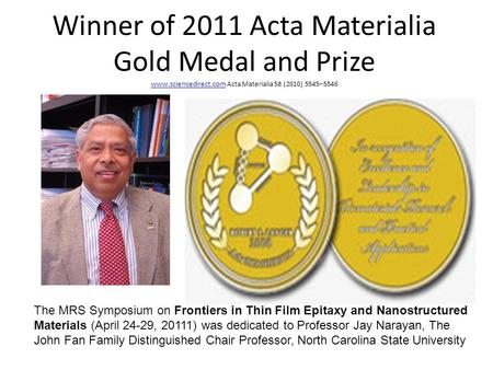 Winner of 2011 Acta Materialia Gold Medal and Prize www.sciencedirect.com Acta Materialia 58 (2010) 5545–5546 www.sciencedirect.com The MRS Symposium on.