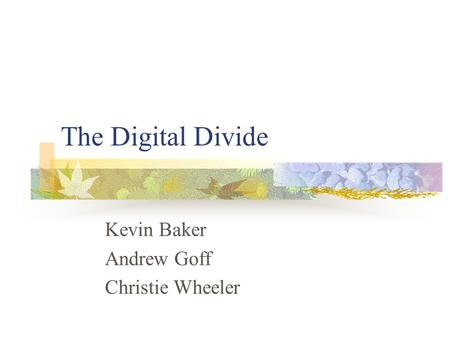 The Digital Divide Kevin Baker Andrew Goff Christie Wheeler.