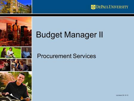 Budget Manager II Procurement Services Updated 08.19.10.