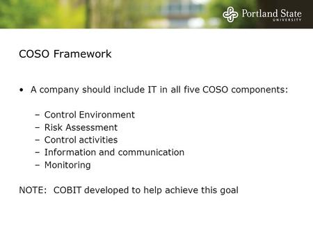 COSO Framework A company should include IT in all five COSO components: –Control Environment –Risk Assessment –Control activities –Information and communication.