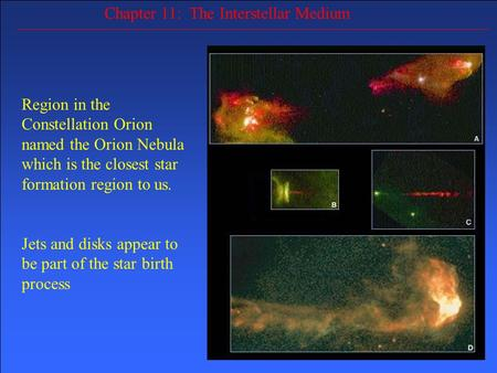 Chapter 11: The Interstellar Medium Region in the Constellation Orion named the Orion Nebula which is the closest star formation region to us. Jets and.