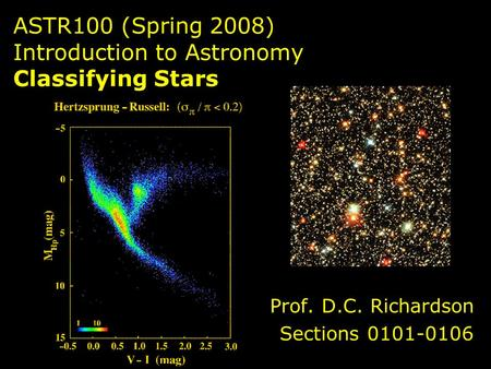 ASTR100 (Spring 2008) Introduction to Astronomy Classifying Stars Prof. D.C. Richardson Sections 0101-0106.
