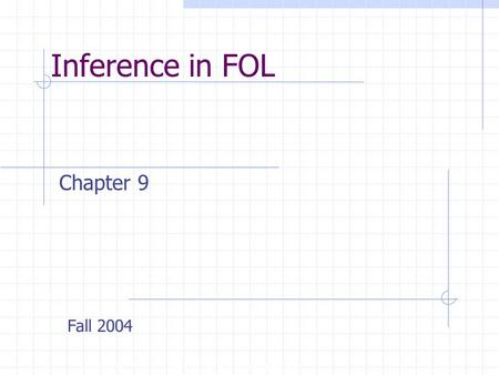 Inference in FOL Copyright, 1996 © Dale Carnegie & Associates, Inc. Chapter 9 Fall 2004.