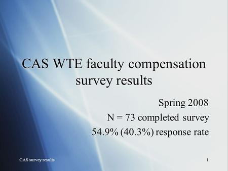 CAS survey results1 CAS WTE faculty compensation survey results Spring 2008 N = 73 completed survey 54.9% (40.3%) response rate Spring 2008 N = 73 completed.