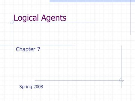 Logical Agents Copyright, 1996 © Dale Carnegie & Associates, Inc. Chapter 7 Spring 2008.