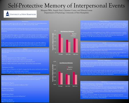 Self-Protective Memory of Interpersonal Events Margaret Wile, Angela Neal, Christine Coyne, and Edward Lemay Department of Psychology, University of New.
