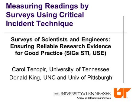 Measuring Readings by Surveys Using Critical Incident Technique Surveys of Scientists and Engineers: Ensuring Reliable Research Evidence for Good Practice.