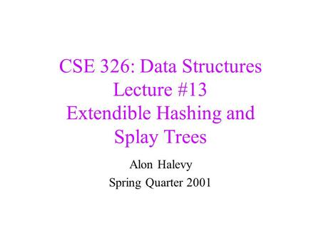 CSE 326: Data Structures Lecture #13 Extendible Hashing and Splay Trees Alon Halevy Spring Quarter 2001.