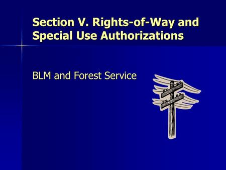 Section V. Rights-of-Way and Special Use Authorizations BLM and Forest Service.