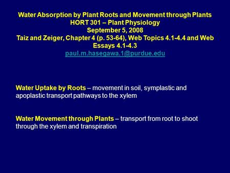 Water Absorption by Plant Roots and Movement through Plants