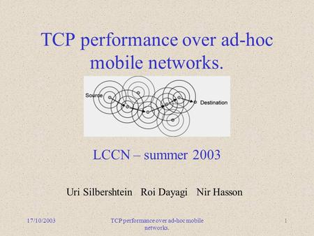 17/10/2003TCP performance over ad-hoc mobile networks. 1 LCCN – summer 2003 Uri Silbershtein Roi Dayagi Nir Hasson.