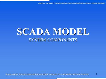 SCADA MODEL SYSTEM COMPONENTS