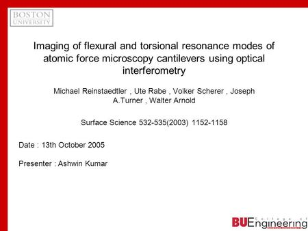 Imaging of flexural and torsional resonance modes of atomic force microscopy cantilevers using optical interferometry Michael Reinstaedtler, Ute Rabe,
