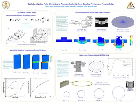 Strain Localization Finite Elements and Their Application to Shear Banding, Fracture and Fragmentation Qiang Yang, Alejandro Mota, Kerstin Weinberg, Jaroslaw.