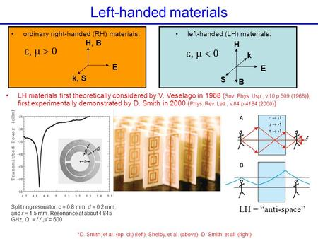 Left-handed materials ordinary right-handed (RH) materials: E H, B k, S  left-handed (LH) materials: E H S k  LH materials first theoretically.