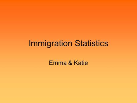 Immigration Statistics Emma & Katie. Number of immigrants In 2004 African immigrants made up 64.4% of the immigrants (90,250 people) from third world.