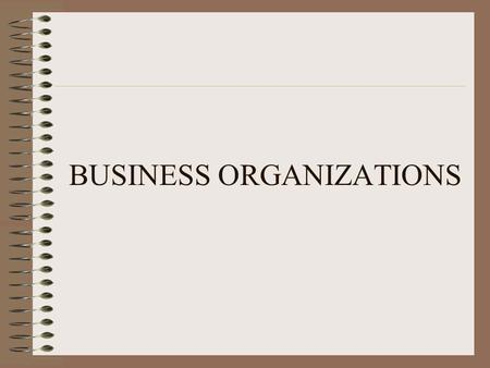 BUSINESS ORGANIZATIONS. SOLE PROPRIETORSHIPS Characteristics a business owned and run by one person most common form of business organization in the US.