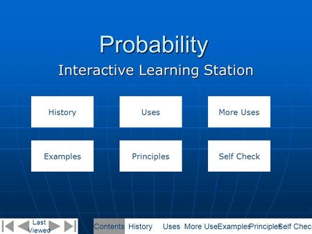 Probability Interactive Learning Station Last Viewed HistoryUses ExamplesPrinciples More Uses Self Check ContentsHistoryUsesMore UsesExamplesPrinciplesSelf.